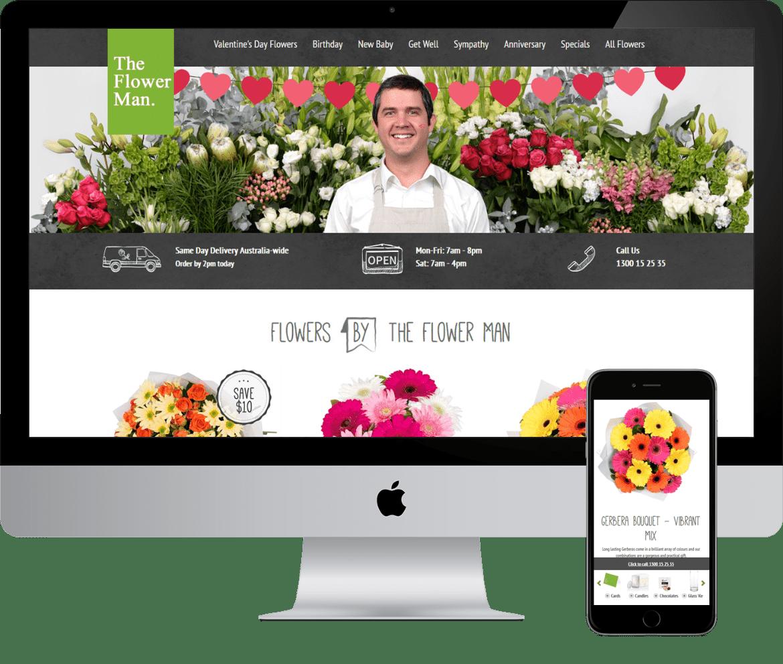 Alcinder tech The Flower Man responsive web design development