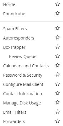 Webmail menu options