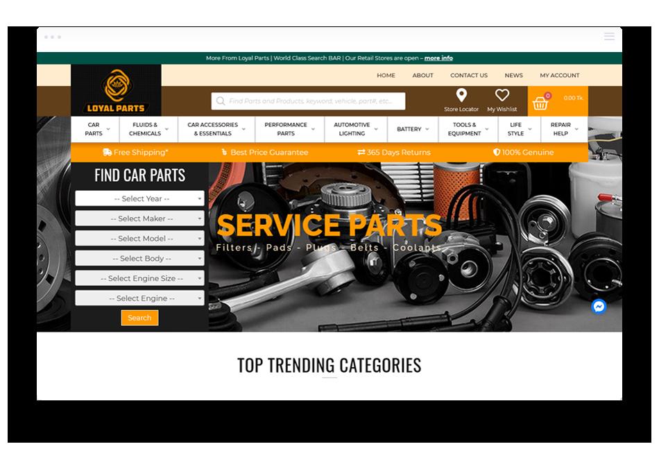 Ecommerce Website Design Dhaka loyalparts